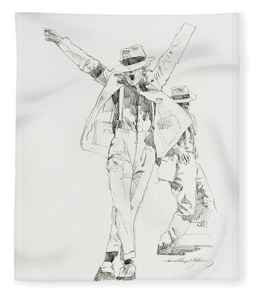 Michael Jackson Fleece Blanket featuring the drawing Michael Smooth Criminal by David Lloyd Glover