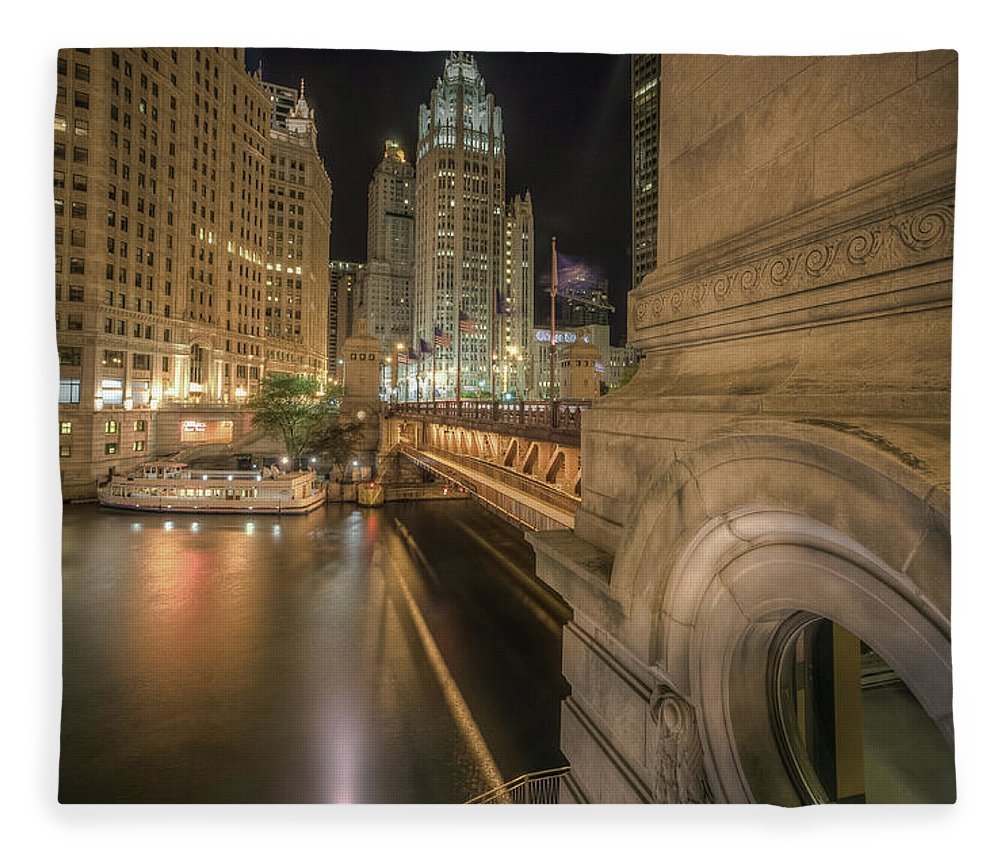 Chicago River Fleece Blanket featuring the photograph Michigan Ave by Delobbo.com