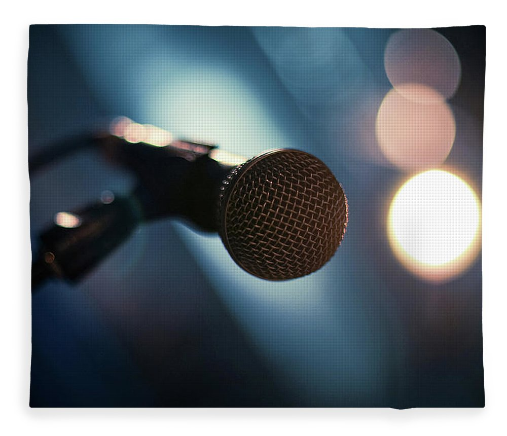 Microphone Stand Fleece Blanket featuring the photograph Microphone Abstract Close Up In Concert by Alexandre Moreau