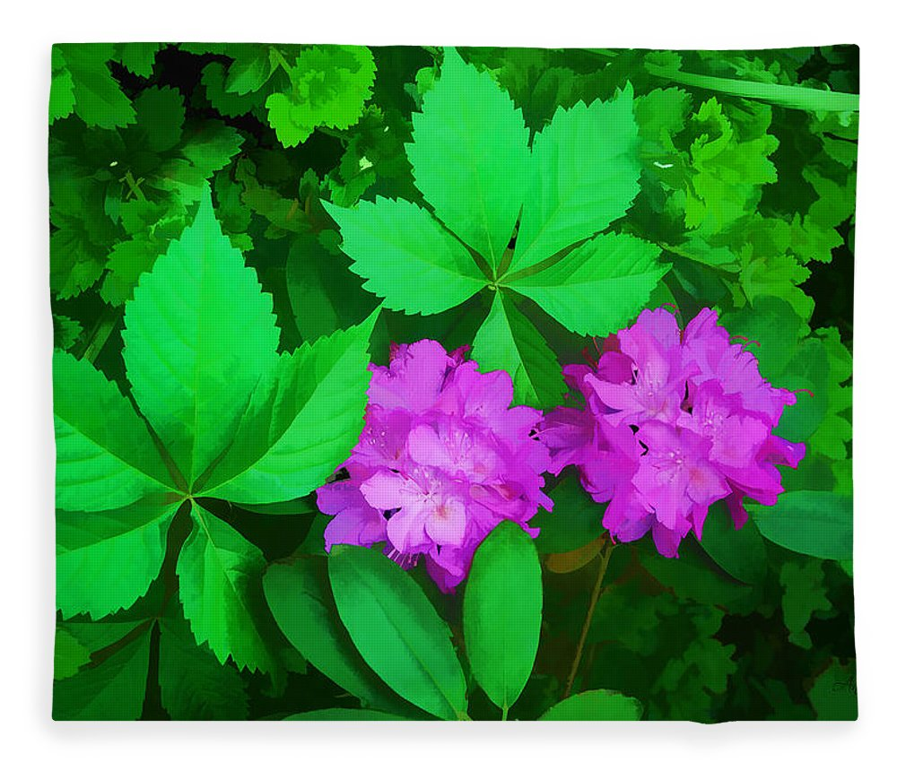 Rhododendron Fleece Blanket featuring the digital art Mid-night Glory by Anita Hubbard