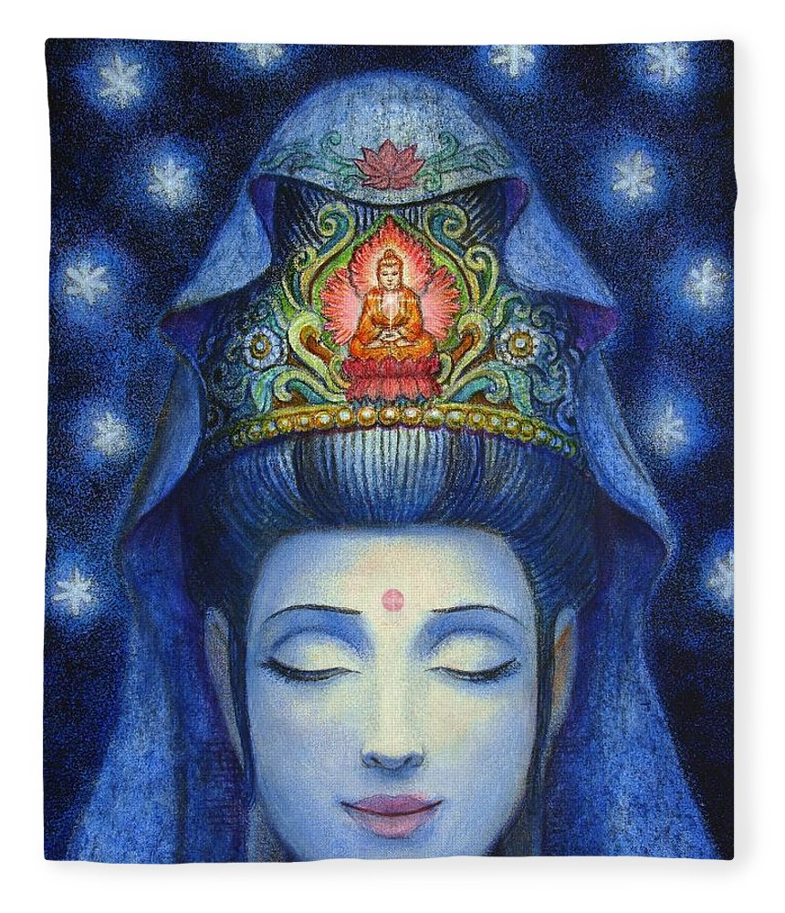 Kuan Yin Fleece Blanket featuring the painting Midnight Meditation Kuan Yin by Sue Halstenberg