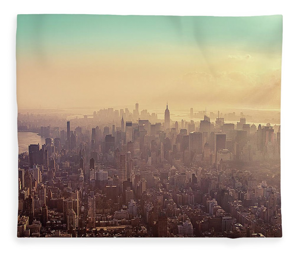 Outdoors Fleece Blanket featuring the photograph Midtown Manhattan At Dusk by Matthias Haker Photography