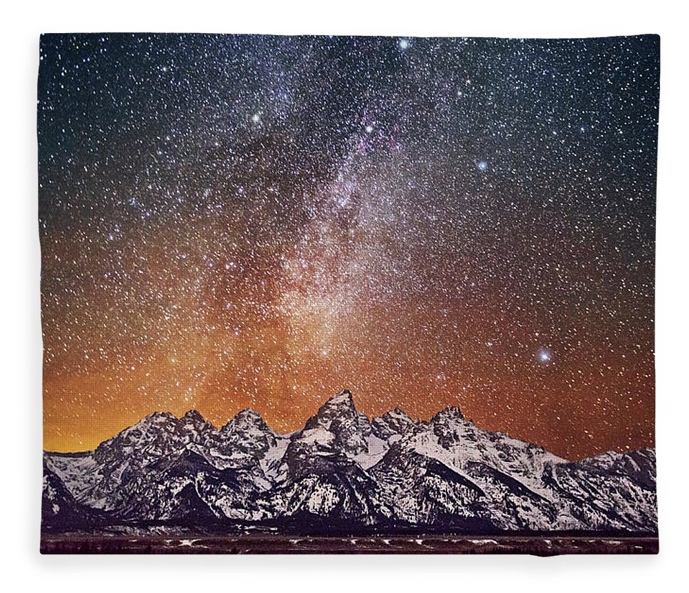 Tranquility Fleece Blanket featuring the photograph Milky Way Over Grand Teton by Chen Su