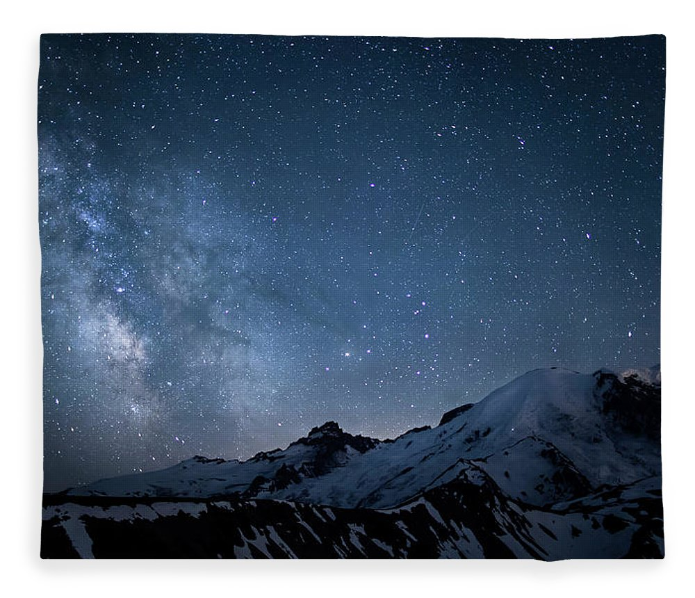 Scenics Fleece Blanket featuring the photograph Milky Way Over Mount Rainier by Ed Leckert