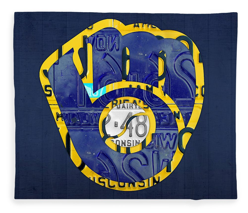 Milwaukee Brewers Vintage Baseball Team Logo Recycled Wisconsin License Plate Art Fleece Blanket For Sale By Design Turnpike