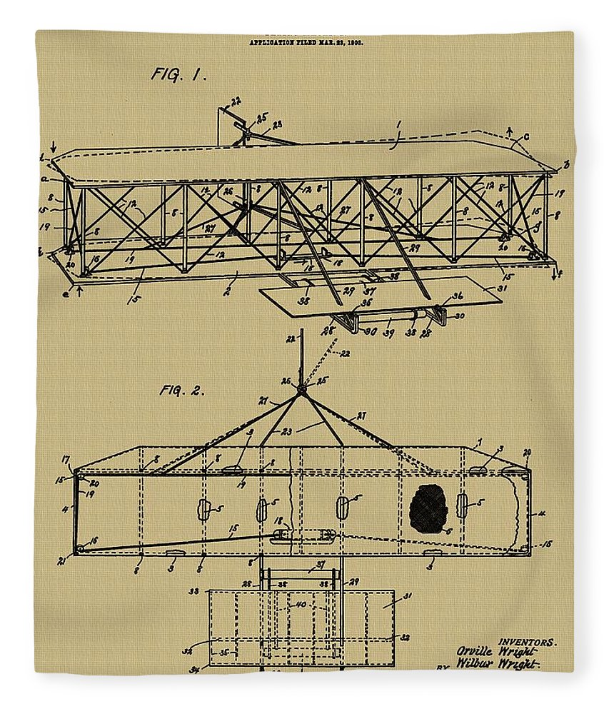 The Wright Brothers Airplane Patent Fleece Blanket featuring the mixed media Mind Over Matter Human Flight by Dan Sproul