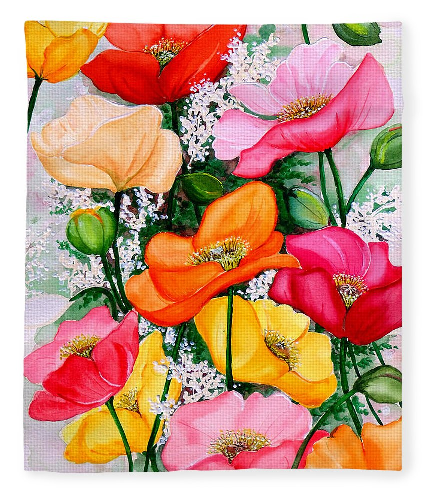 Poppies Fleece Blanket featuring the painting Mixed Poppies by Karin Dawn Kelshall- Best