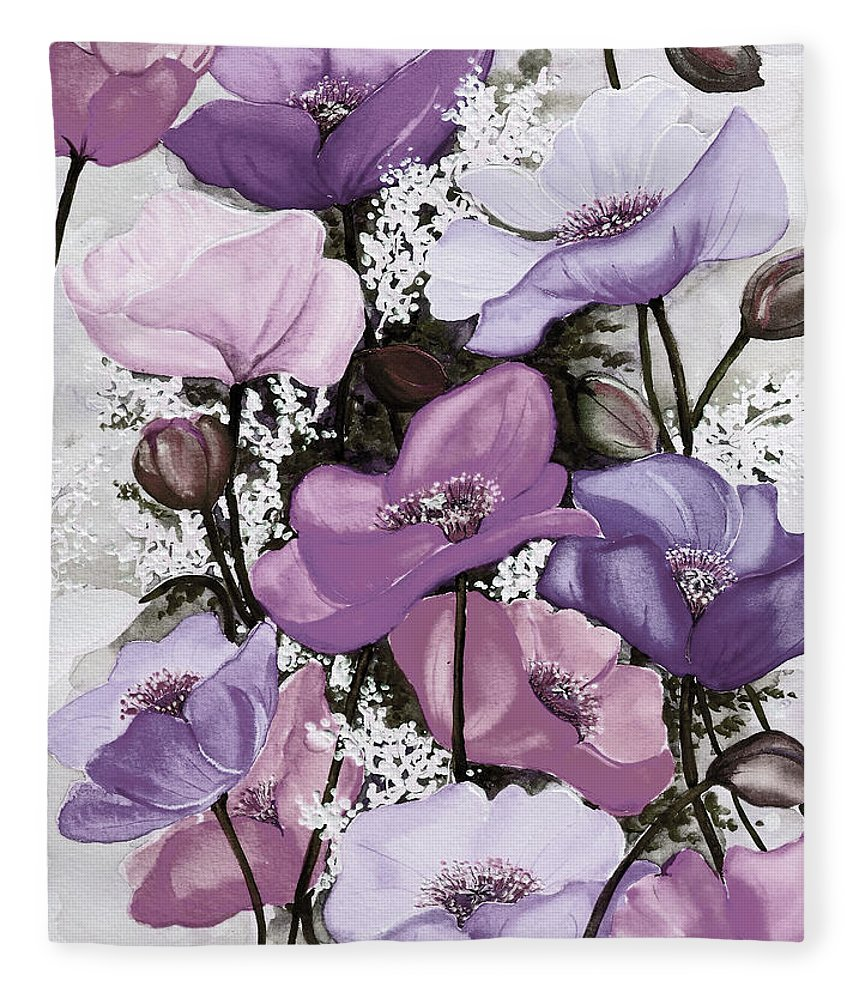Purple Fleece Blanket featuring the painting Mixed Poppies Purple by Karin Dawn Kelshall- Best