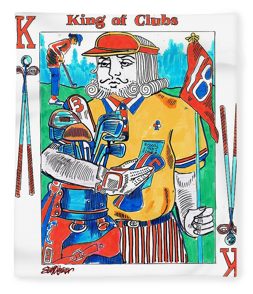 Modern King O'clubs Fleece Blanket featuring the drawing Modern King O' Clubs by Seth Weaver