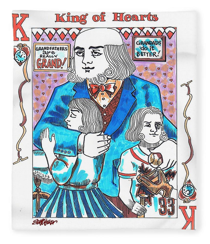 Modern King O' Hearts Fleece Blanket featuring the drawing Modern King O' Hearts by Seth Weaver
