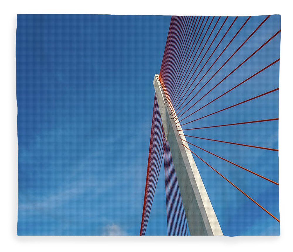 Hanging Fleece Blanket featuring the photograph Modern Suspension Bridge by Phung Huynh Vu Qui