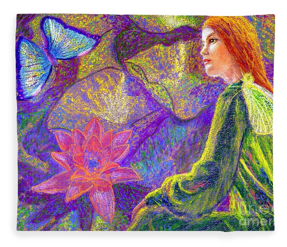 Abstract Fleece Blanket featuring the painting Meditation, Moment of Oneness by Jane Small