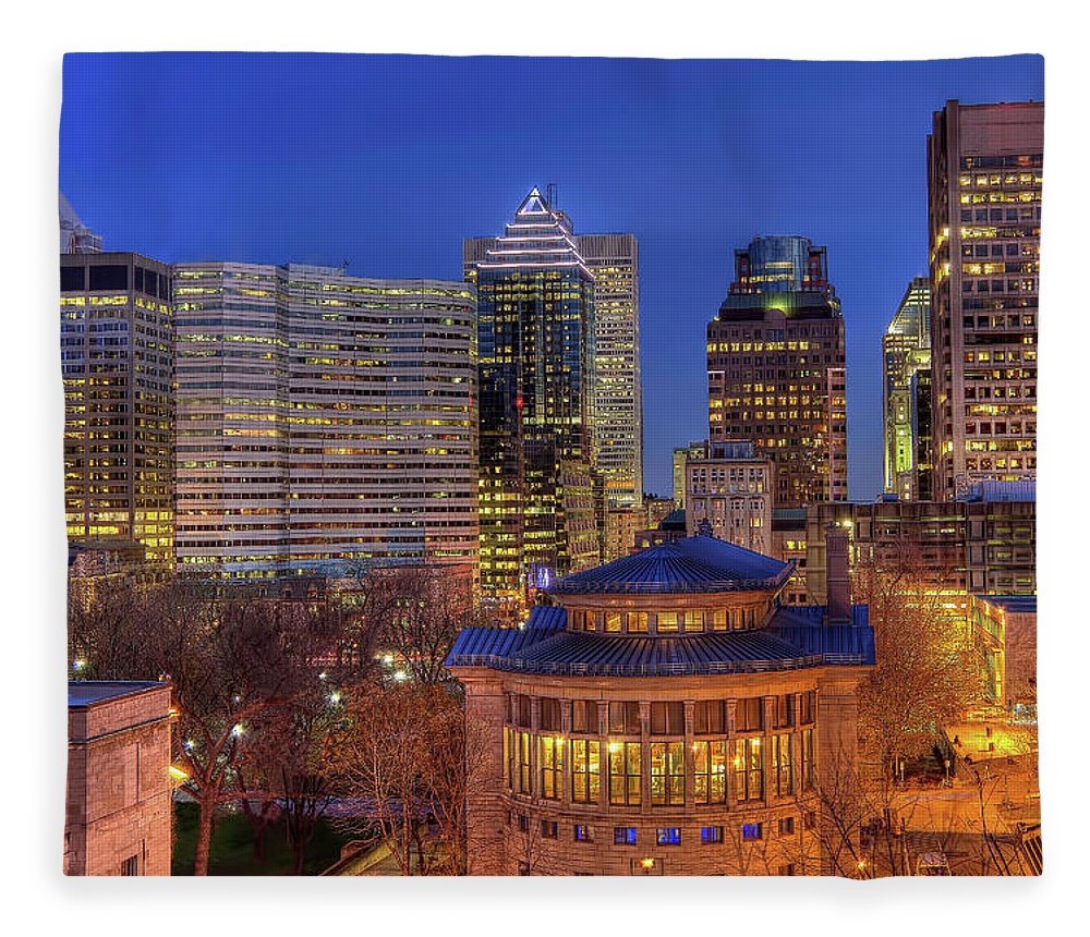 Tranquility Fleece Blanket featuring the photograph Montreal Downtown At Dusk Hdr II by Jean Surprenant