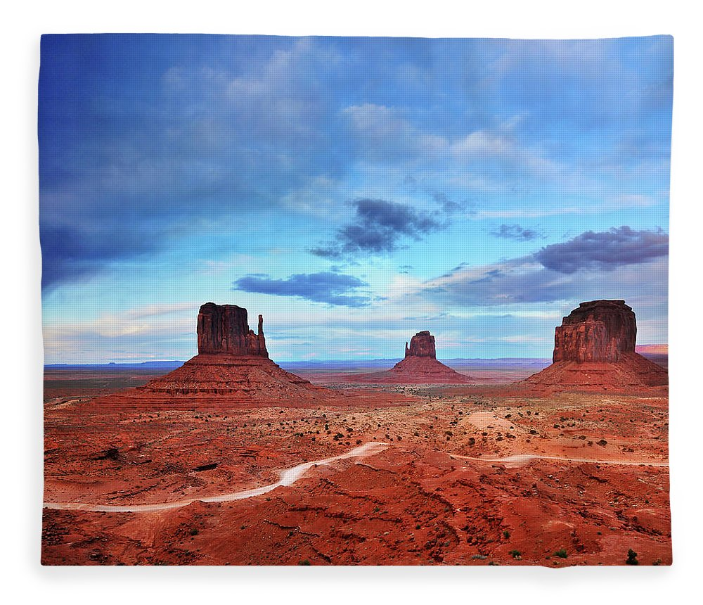 Tranquility Fleece Blanket featuring the photograph Monument Valley Cool Light After Sunset by Utah-based Photographer Ryan Houston