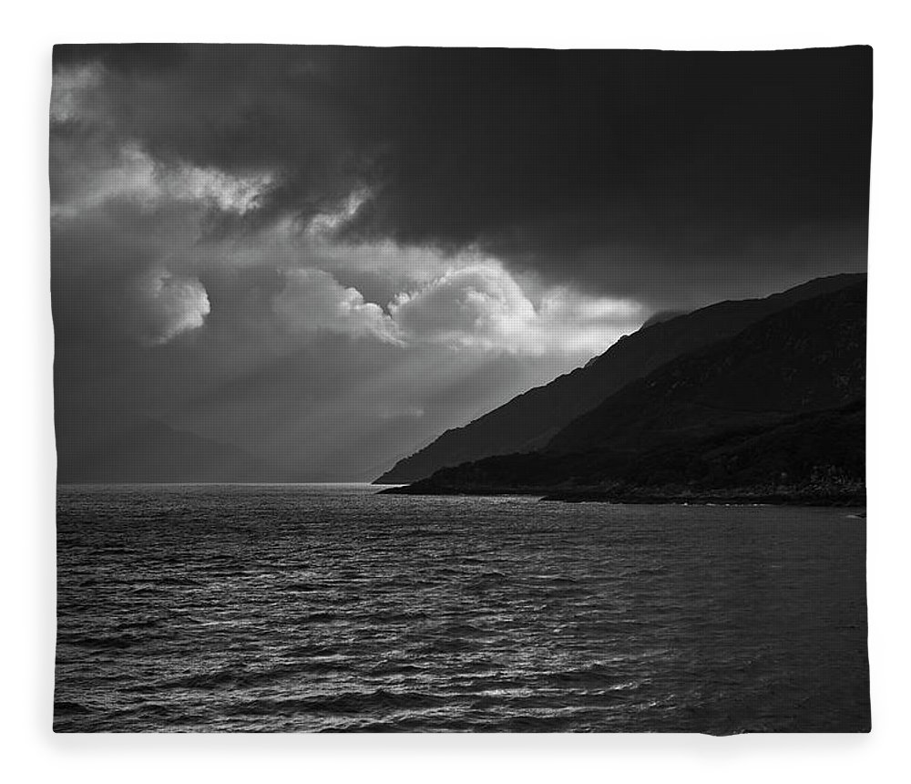 Scenics Fleece Blanket featuring the photograph Moody Scottish Weather by Charles Briscoe-knight