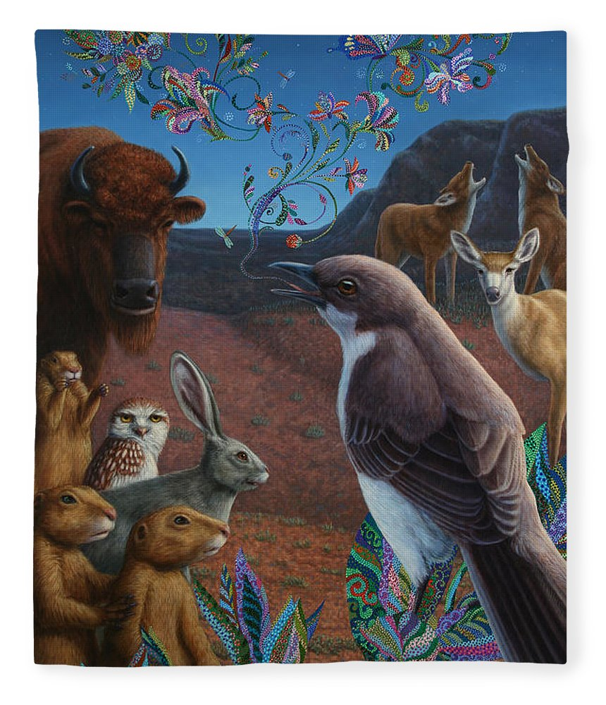 Mockingbird Fleece Blanket featuring the painting Moonlight Cantata by James W Johnson