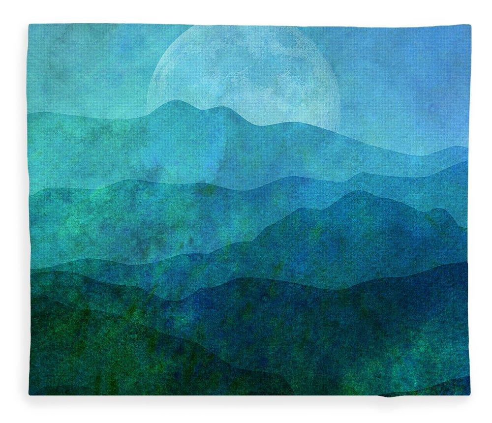 Gary Grayson Fleece Blanket featuring the digital art Moonlight Hills by Gary Grayson