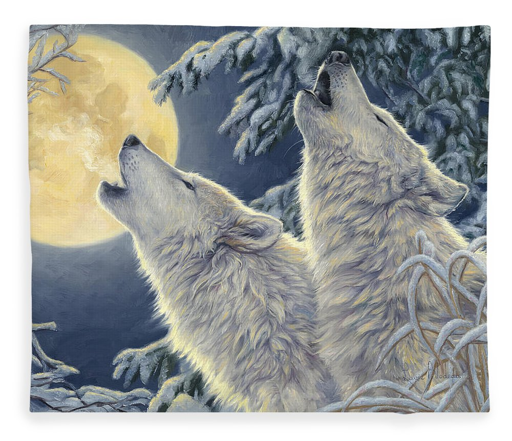 Wolf Fleece Blanket featuring the painting Moonlight by Lucie Bilodeau