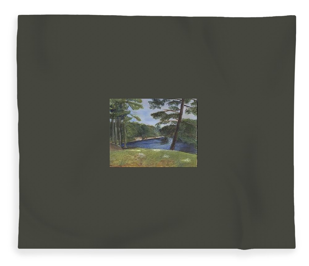 Moose River Fleece Blanket featuring the painting Moose River by Sheila Mashaw