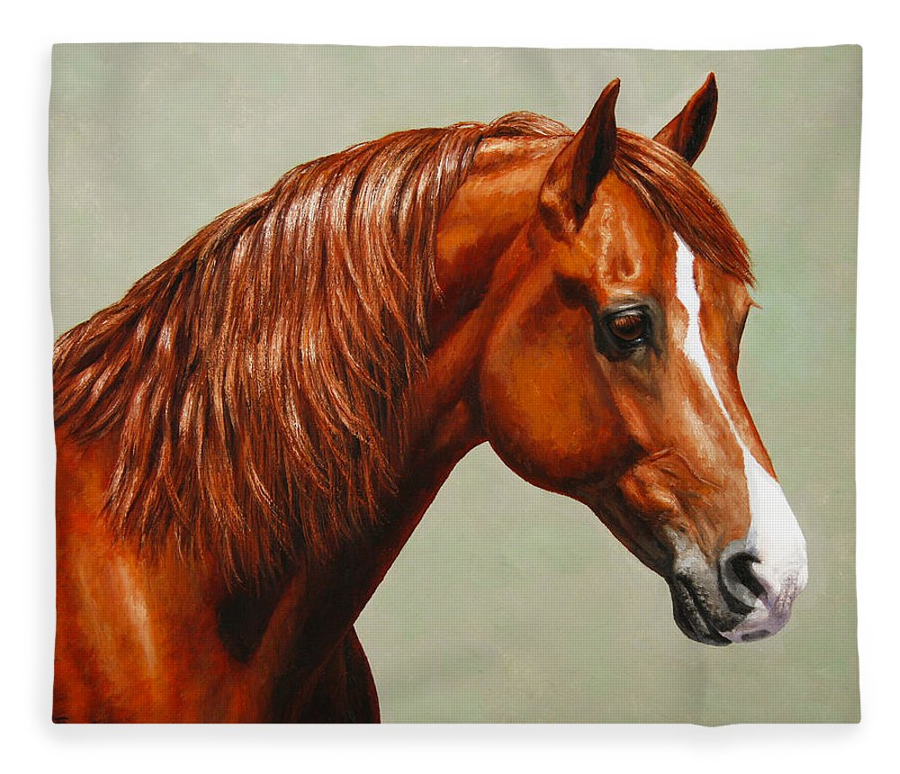 Horse Fleece Blanket featuring the painting Morgan Horse - Flame by Crista Forest