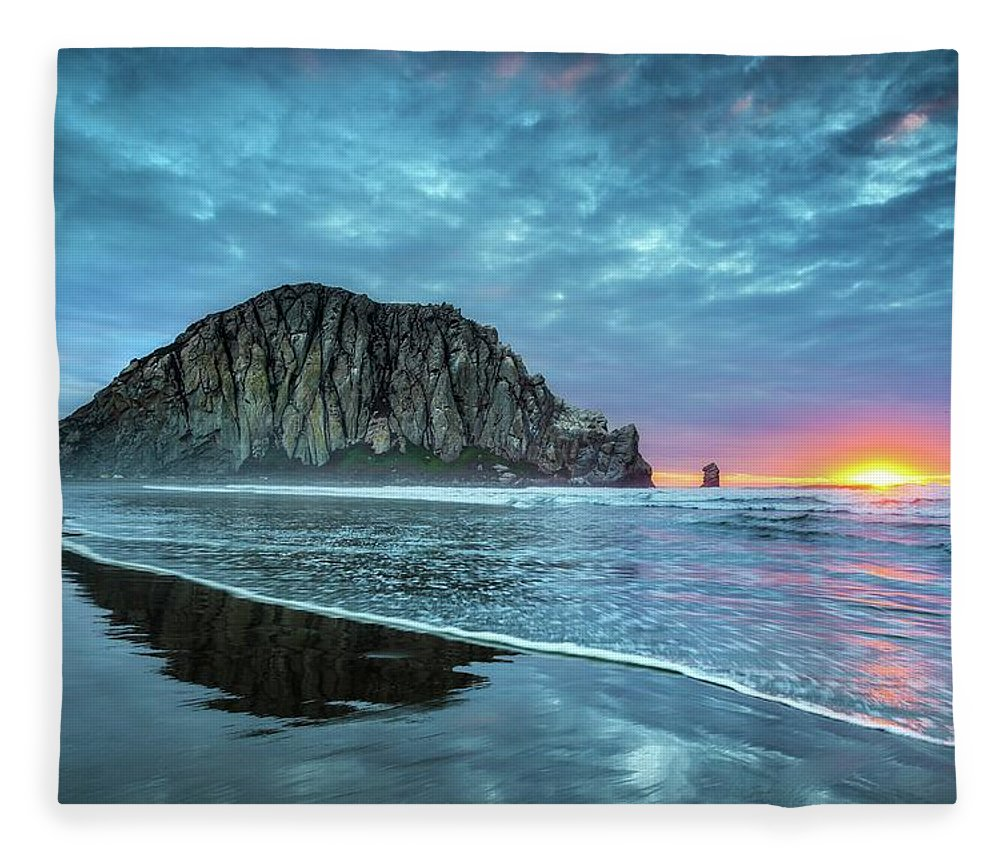 Tranquility Fleece Blanket featuring the photograph Morro Sunset by Tom Grubbe