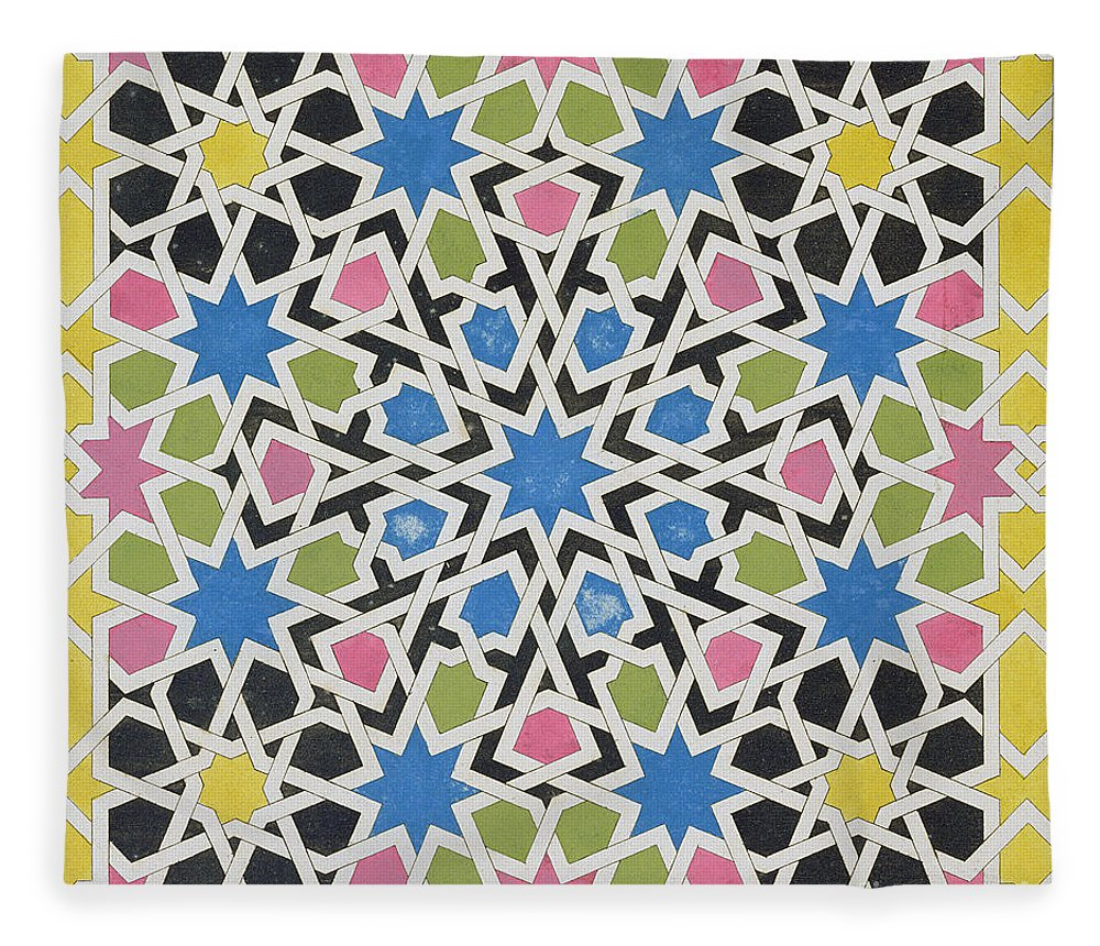 Murphy Fleece Blanket featuring the painting Mosaic Design From The Alhambra by James Cavanagh Murphy