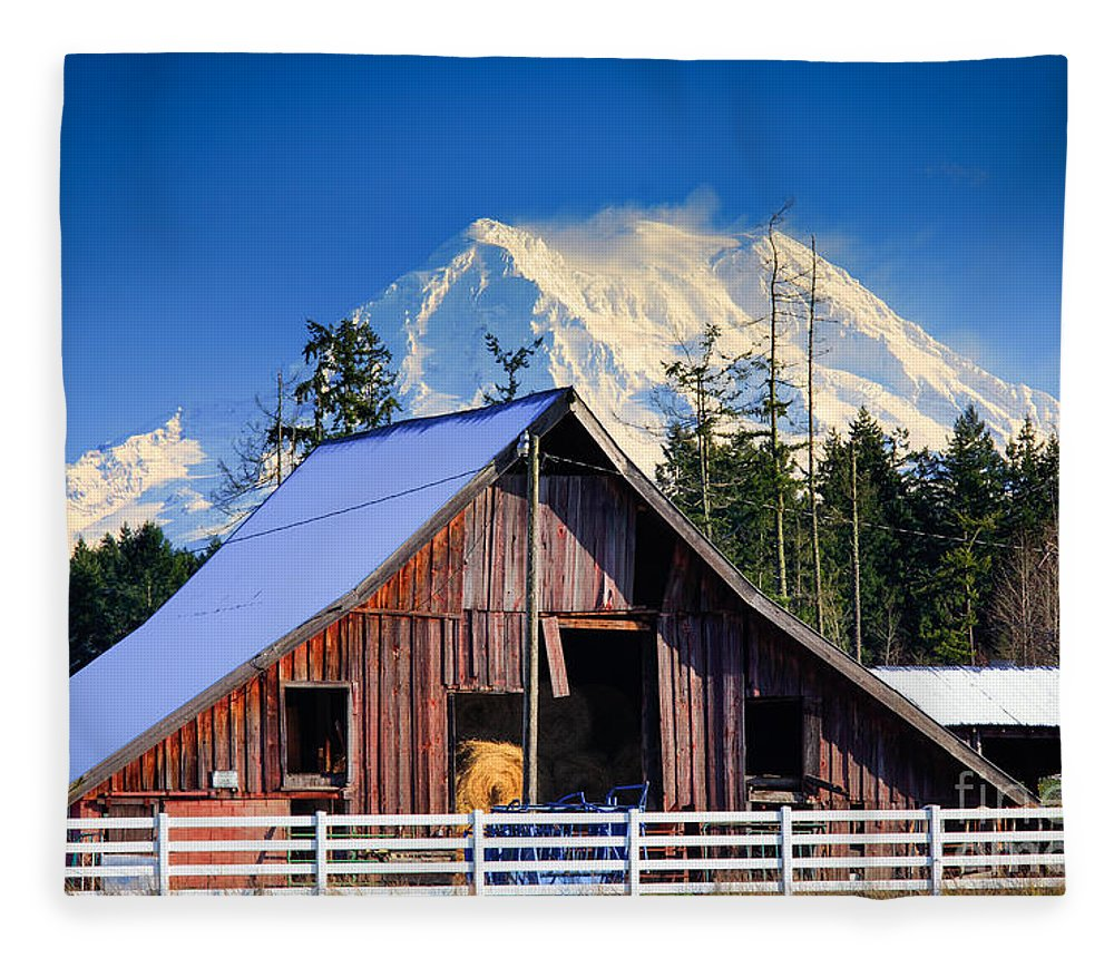 America Fleece Blanket featuring the photograph Mount Rainier And Barn by Inge Johnsson