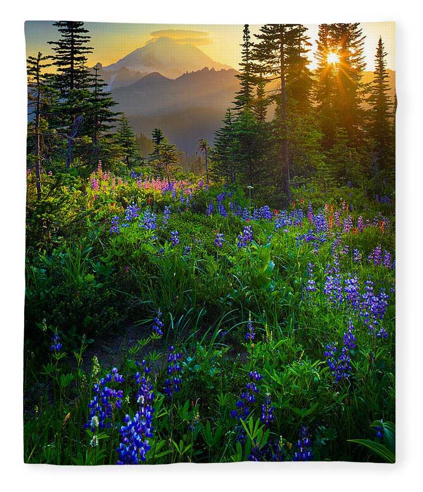 America Fleece Blanket featuring the photograph Mount Rainier Sunburst by Inge Johnsson