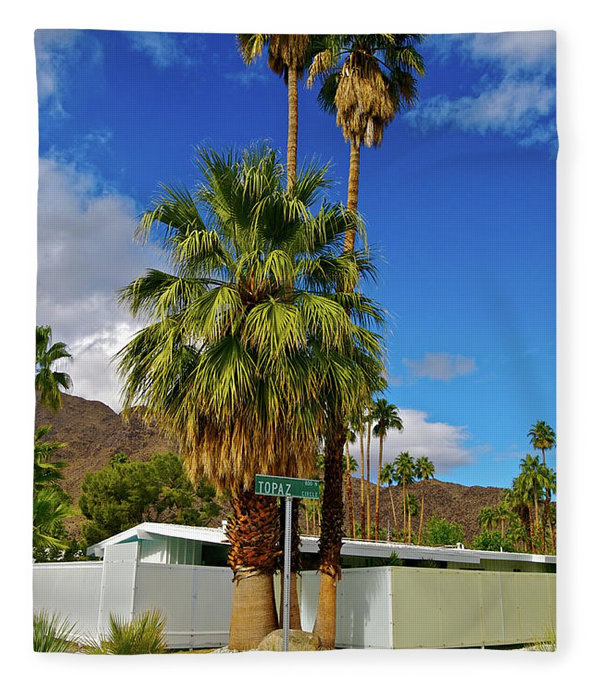 Fan Palm Tree Fleece Blanket featuring the photograph Mountains, Plants & Mid-century Home In by Jaylazarin
