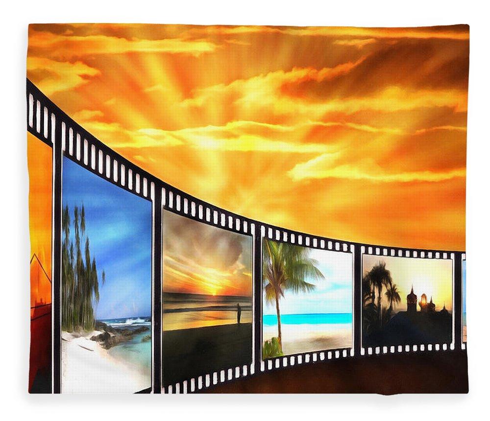 Sunset Fleece Blanket featuring the digital art Movies At Sundown by Georgiana Romanovna