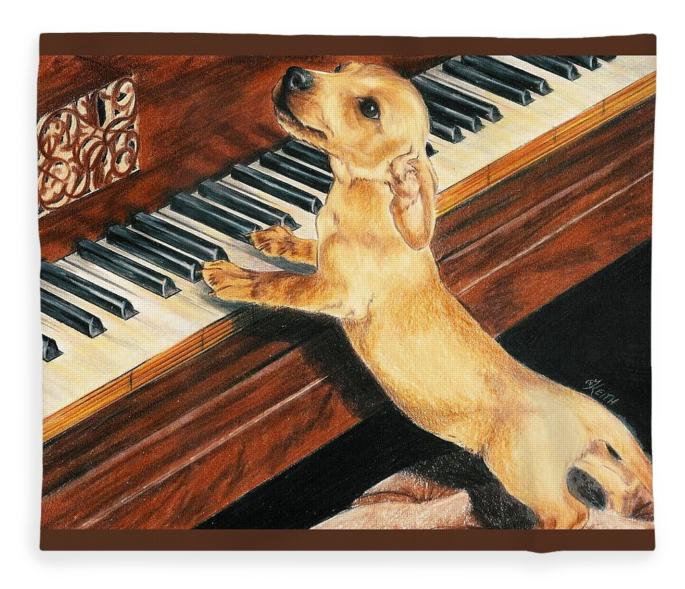 Purebred Dog Fleece Blanket featuring the drawing Mozart's Apprentice by Barbara Keith