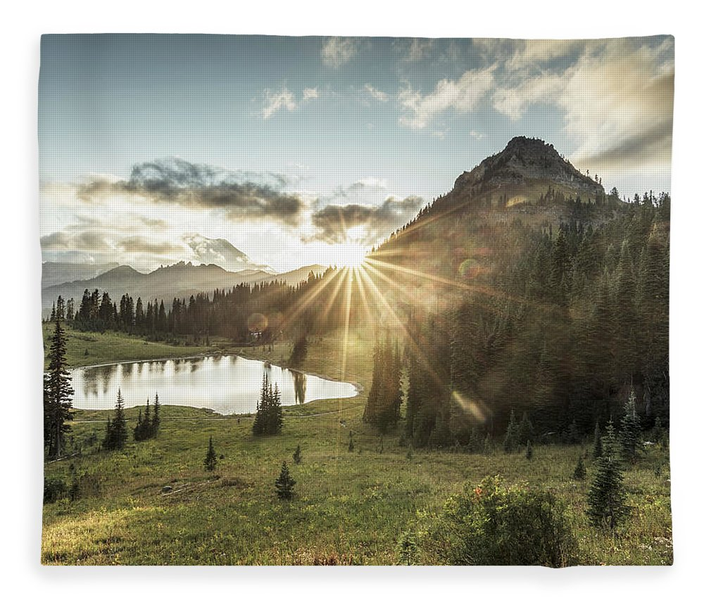 Scenics Fleece Blanket featuring the photograph Mt.rainier In Sunset by Chinaface