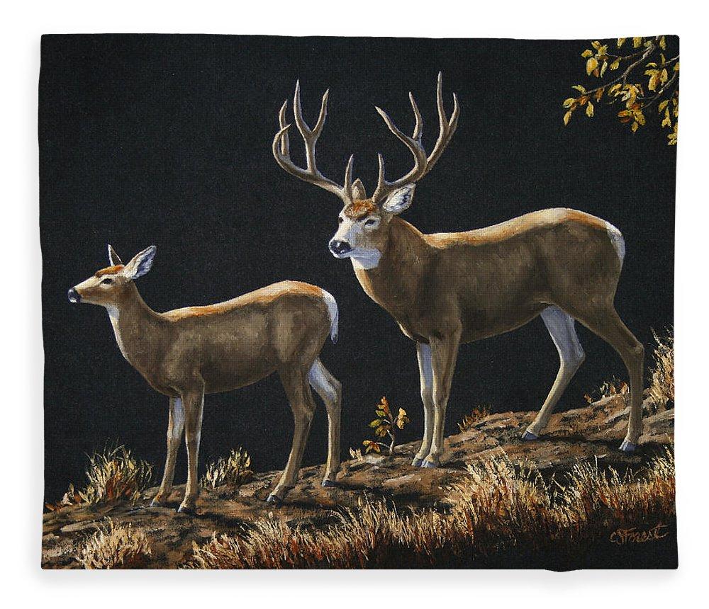 Deer Fleece Blanket featuring the painting Mule Deer Ridge by Crista Forest