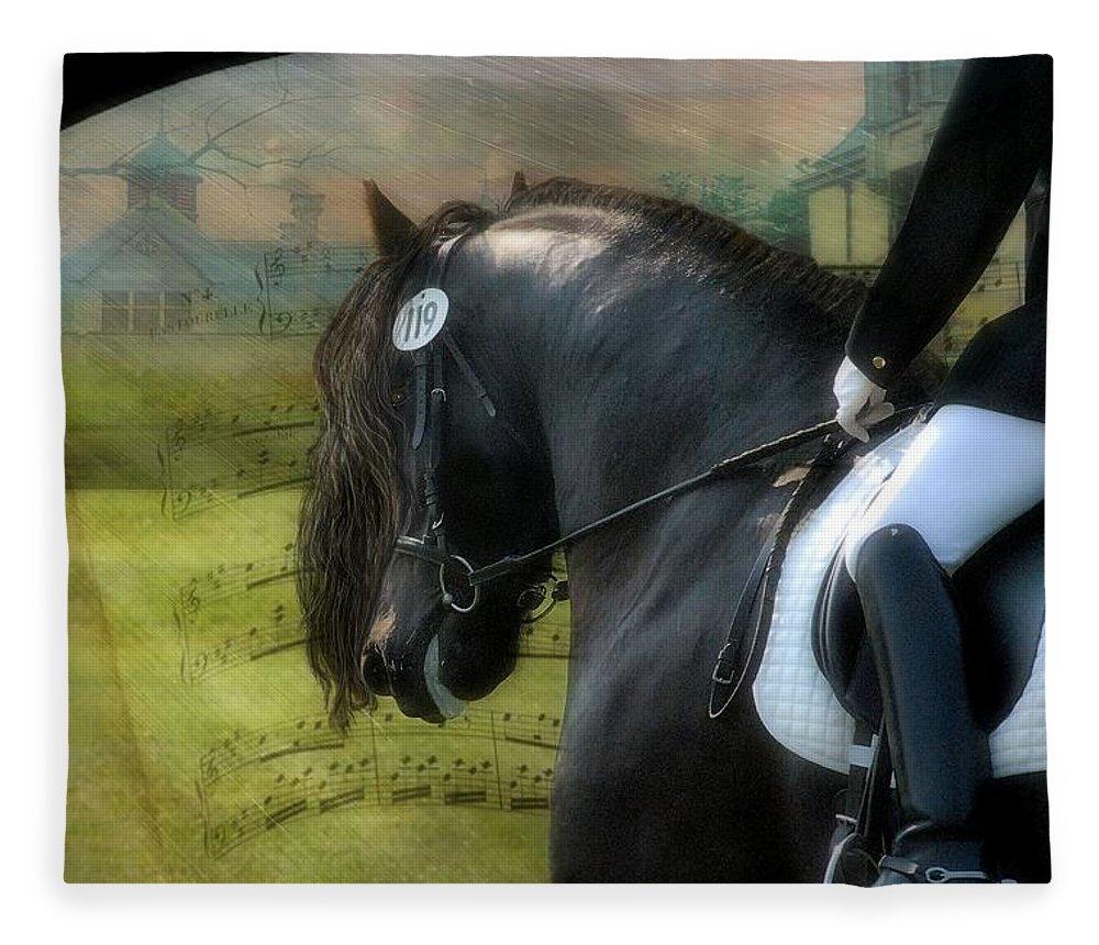 Friesian Horses Fleece Blanket featuring the digital art Musical Freestyle by Fran J Scott