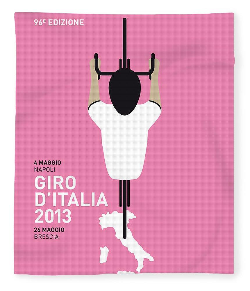 2013 Fleece Blanket featuring the digital art My Giro D'italia Minimal Poster by Chungkong Art