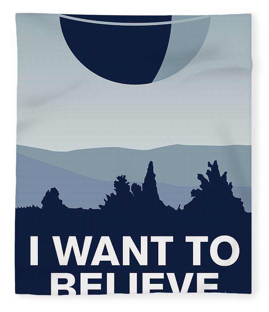 Classic Fleece Blanket featuring the digital art My I Want To Believe Minimal Poster-deathstar by Chungkong Art