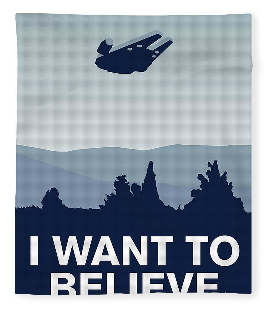 Classic Fleece Blanket featuring the digital art My I Want To Believe Minimal Poster-millennium Falcon by Chungkong Art