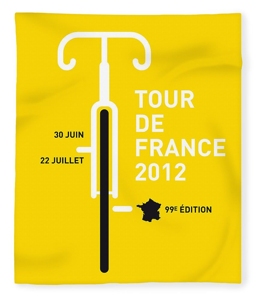 2012 Fleece Blanket featuring the digital art My Tour De France 2012 Minimal Poster by Chungkong Art