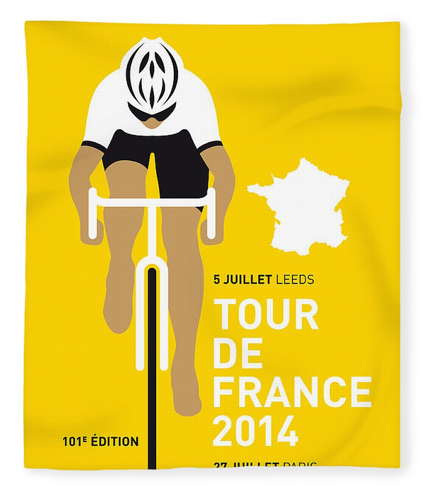 Minimal Fleece Blanket featuring the digital art My Tour De France Minimal Poster 2014 by Chungkong Art