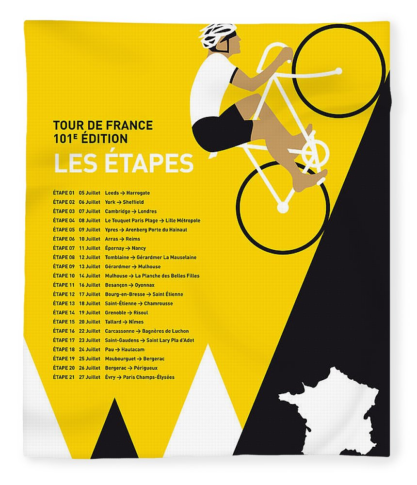 2014 Fleece Blanket featuring the digital art My Tour De France Minimal Poster 2014-etapes by Chungkong Art