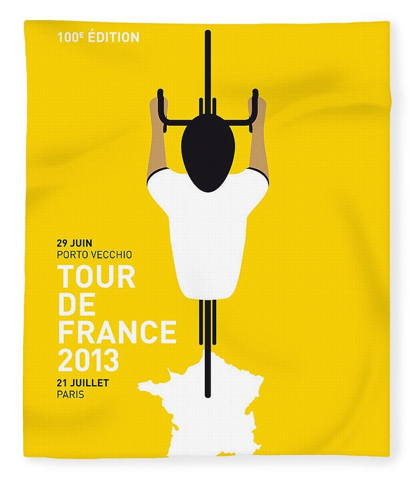 Cycling Fleece Blanket featuring the digital art My Tour De France Minimal Poster by Chungkong Art