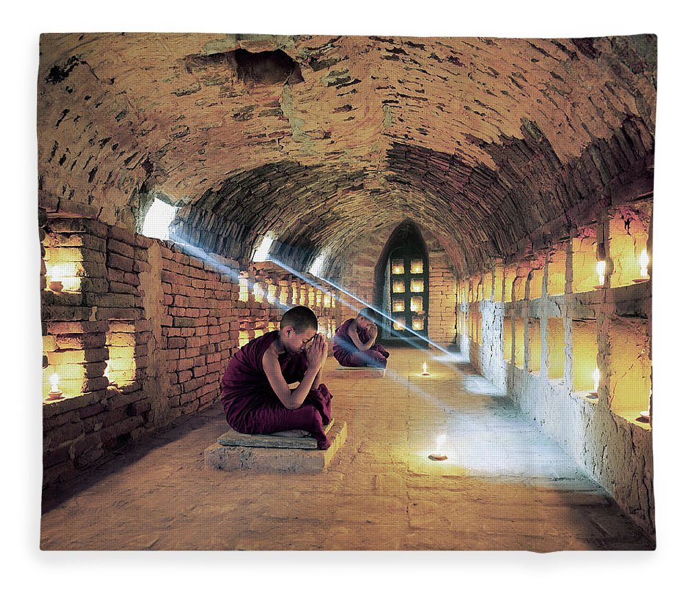 Arch Fleece Blanket featuring the photograph Myanmar, Buddhist Monks Inside by Martin Puddy
