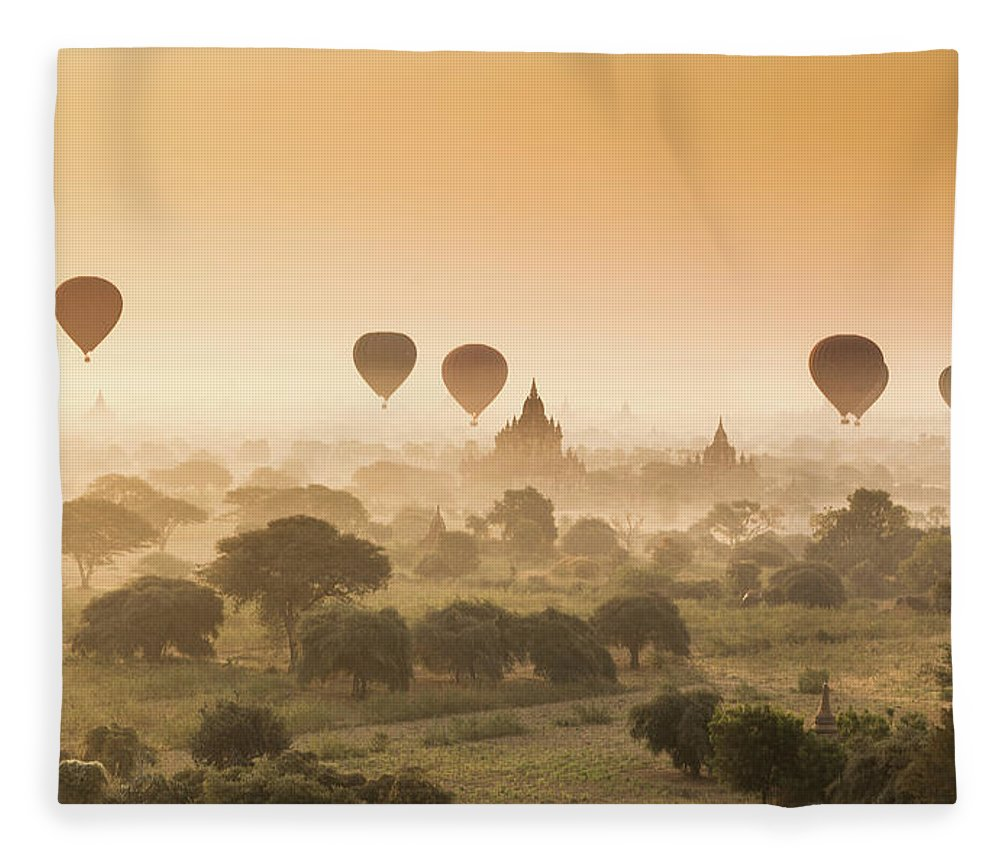 Tranquility Fleece Blanket featuring the photograph Myanmar Burma - Balloons Flying Over by 117 Imagery