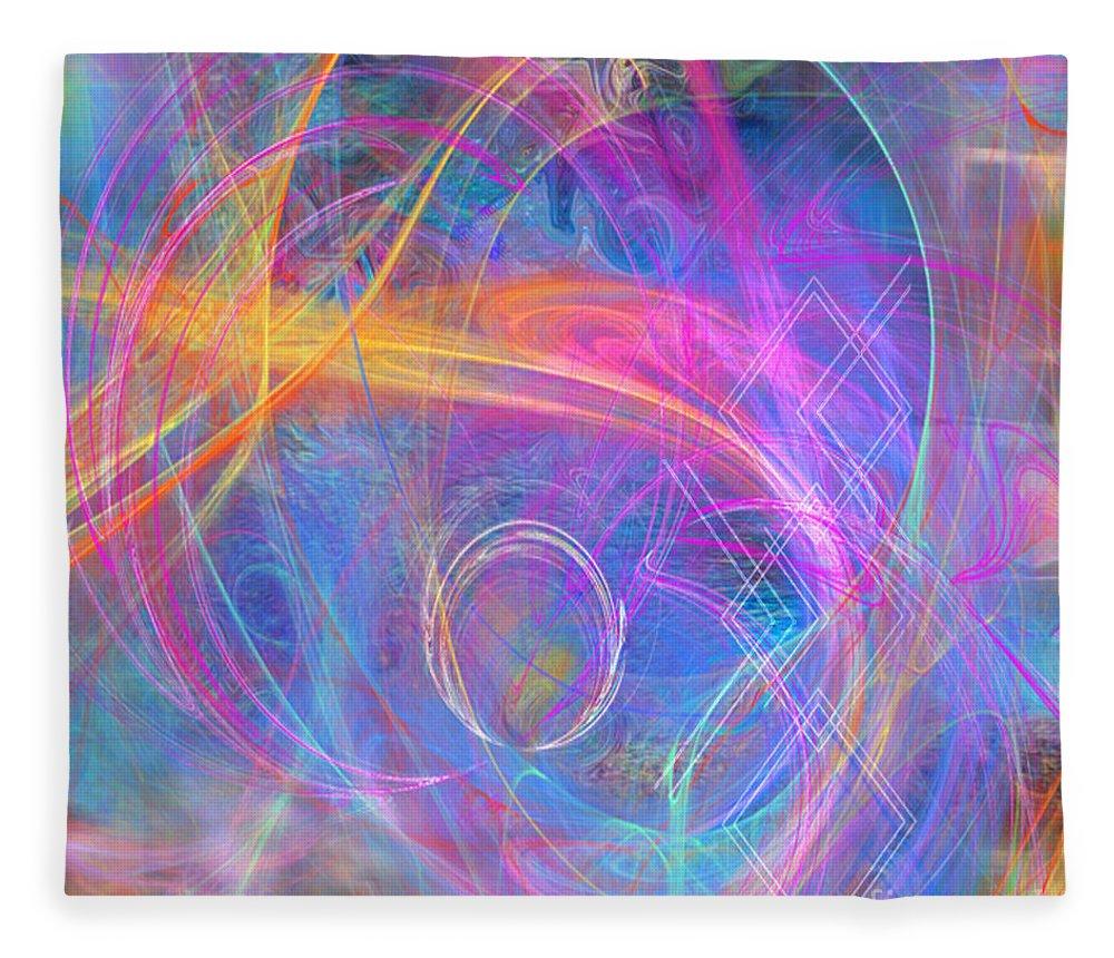 Mystic Beginning Fleece Blanket featuring the digital art Mystic Beginning - Square Version by John Robert Beck