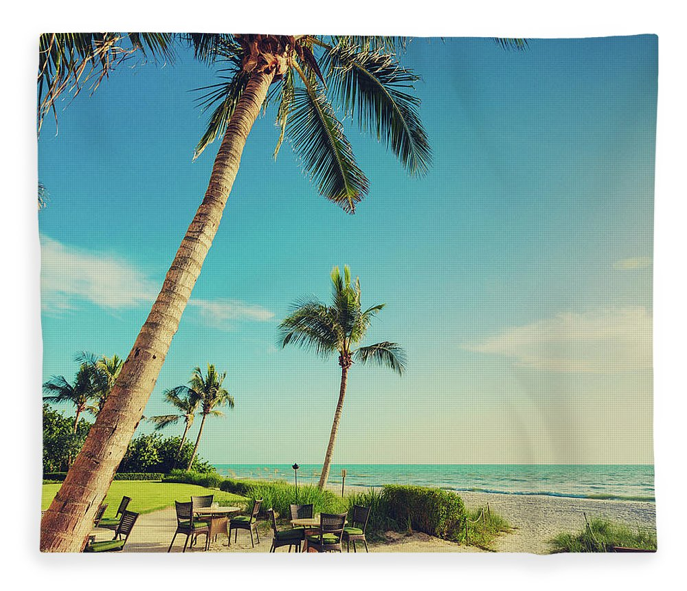 Vacations Fleece Blanket featuring the photograph Naple Beach Palms by Thepalmer