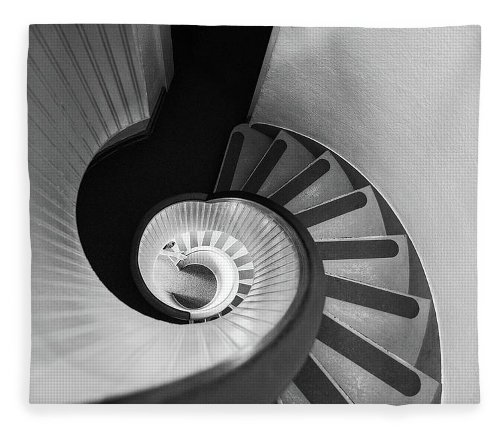 Steps Fleece Blanket featuring the photograph Narrow Circular Staircase Abstract by Art Wager