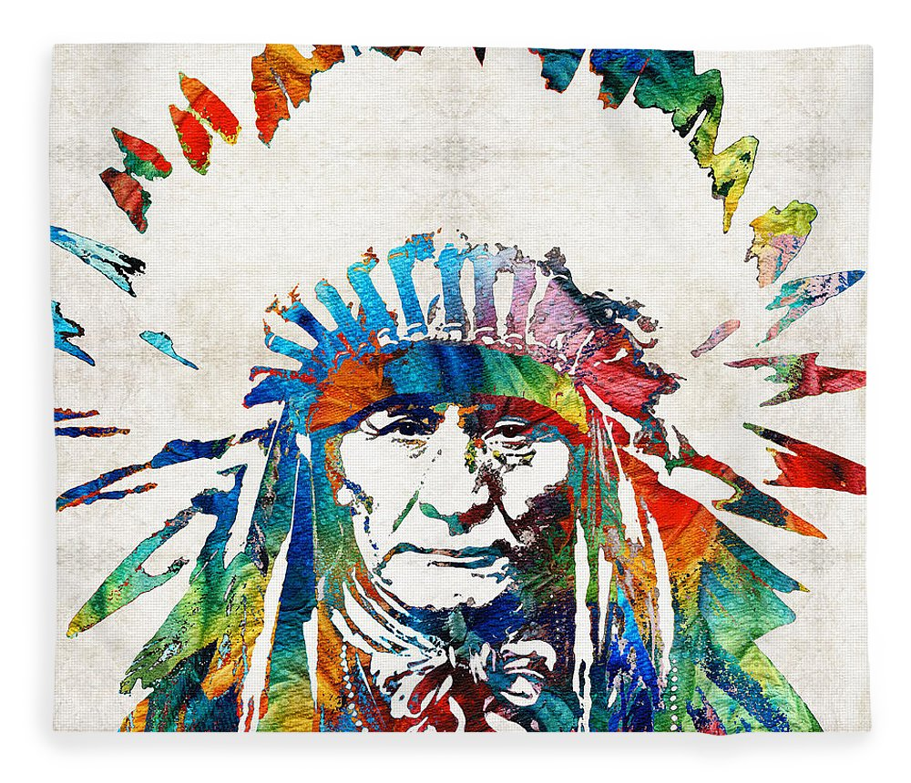 Native American Fleece Blanket featuring the painting Native American Art - Chief - By Sharon Cummings by Sharon Cummings