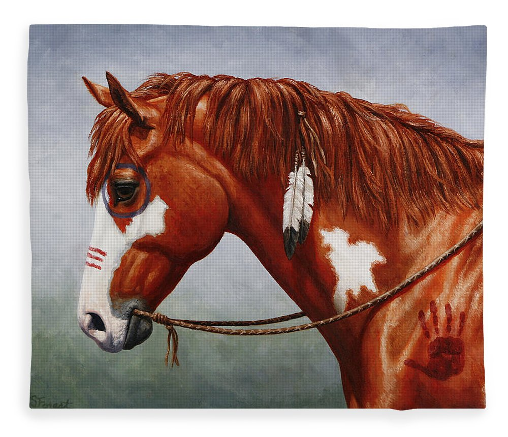 Horse Fleece Blanket featuring the painting Native American War Horse by Crista Forest