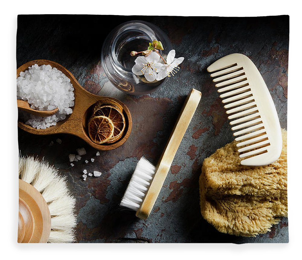 Comb Fleece Blanket featuring the photograph Natural Bath Accesories On Gray by Nightanddayimages