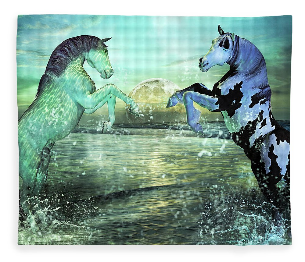 Horse Fleece Blanket featuring the mixed media Nautical Treasures by Betsy Knapp